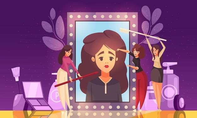 Ilustración de esteticista de maquillaje