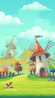 Ilustración estilizada de dibujos animados sobre el tema del paisaje europeo con un formato móvil de molino de viento