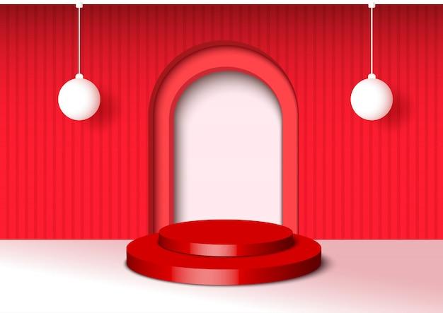Ilustración estilo 3d decorado con fondo rojo