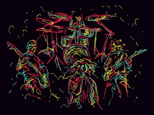 Ilustración de estilo abstracto de una banda de música