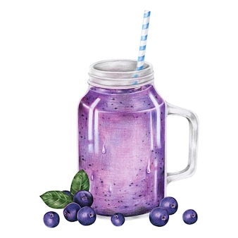Ilustración del estilo de acuarela de bebida de batido de frutas