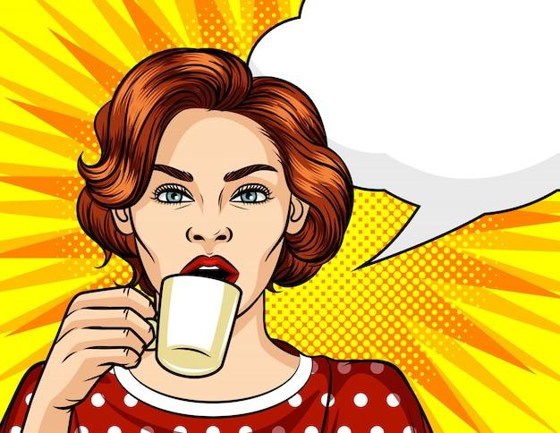 Ilustración de estilo de arte pop de color vector. hermosa mujer tomando café