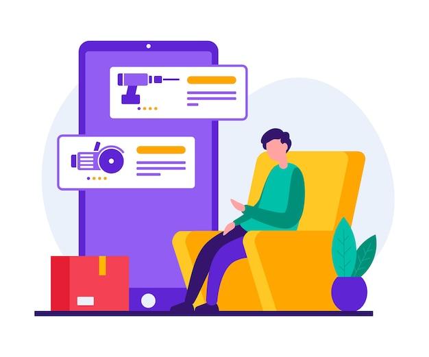 Ilustración de estilo colorido del personaje del hombre moderno sentado en una silla y usando la aplicación móvil en el teléfono inteligente mientras ordena productos para el servicio de reparación