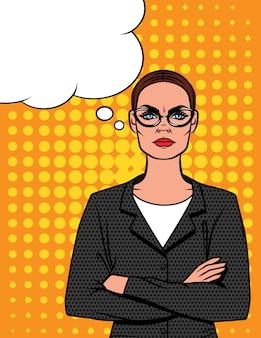Ilustración estilo cómic de mujer enojada en gafas con los brazos cruzados