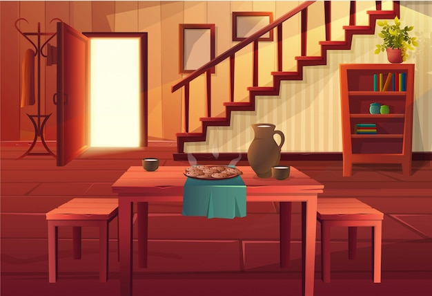 Ilustración de estilo de dibujos animados del interior de la casa. puerta de entrada abierta con escaleras y muebles rústicos de época y suelo de madera. mesa de comedor con comida caliente.