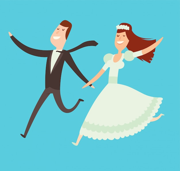 Ilustración de estilo de dibujos animados de parejas de boda