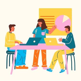 Ilustración de estilo de diseño plano empresarial