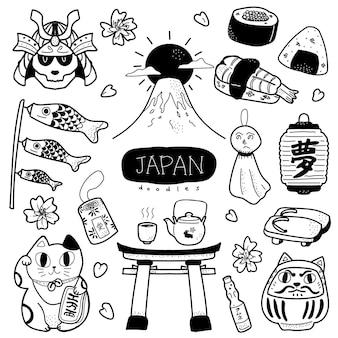 Ilustración de estilo de doodle japón lindo y adorable dibujado a mano