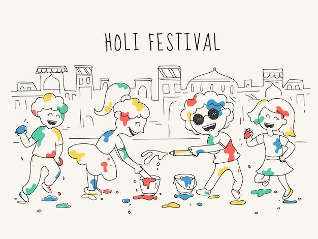 Ilustración de estilo doodle de personaje de niños felices celebrando holi festival en frente de las ciudades de la casa.