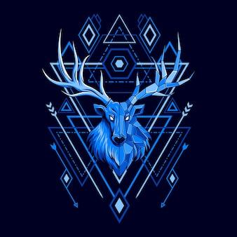 Ilustración de estilo de geometría de cabeza de ciervo