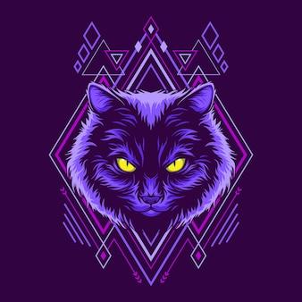 Ilustración de estilo de geometría de cabeza de gato