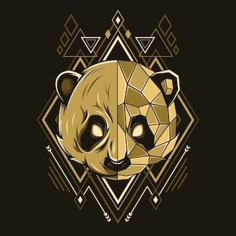 Ilustración de estilo de geometría de cabeza de panda