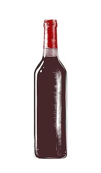 Ilustración de estilo grabado. boceto dibujado a mano de una botella de vino