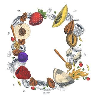 Ilustración de estilo grabado de granola. varias bayas, frutas y nueces. delicioso conjunto casero. ingredientes para hacer granola. desayuno saludable. ilustración dibujada a mano.