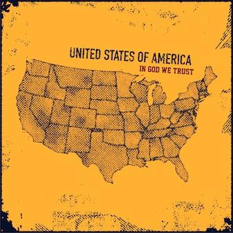 Ilustración de estilo grunge de mapa de estados unidos.