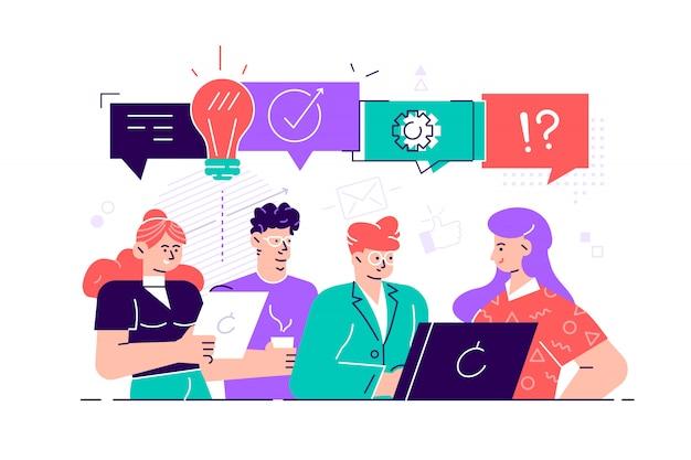Ilustración, estilo, hombres de negocios discuten redes sociales, noticias, redes sociales, chat, diálogo, bocadillos, nuevos proyectos.