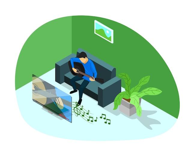 Ilustración de estilo isométrico del aprendizaje musical en línea.