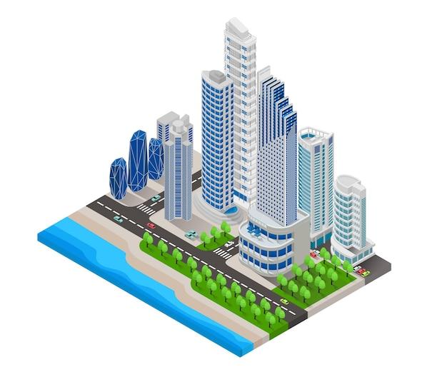 Ilustración de estilo isométrico del mapa de la gran ciudad con playa y carretera