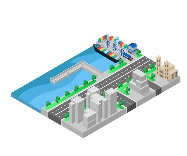 Ilustración de estilo isométrico de oficina y almacén en el puerto.