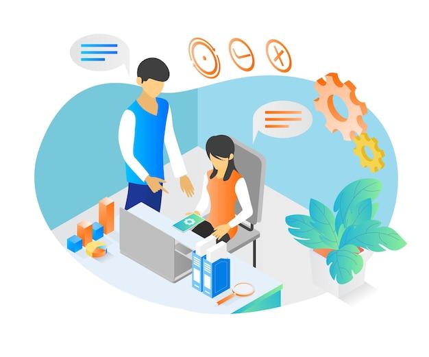 Ilustración de estilo isométrico sobre compañeros de trabajo que comparten ideas en su trabajo.