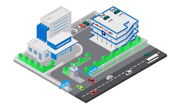 Ilustración de estilo isométrico sobre estacionamiento en supermercado con sensor de matrícula de vehículo
