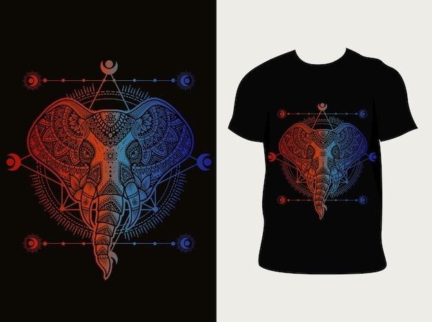 Ilustración estilo mandala de cabeza de elefante con diseño de camiseta