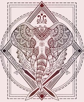 Ilustración de estilo mandala de cabeza de elefante