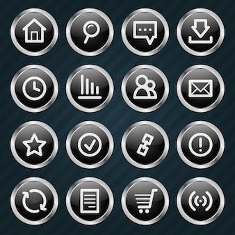 Ilustración, estilo metálico de los iconos de internet, formato eps 10