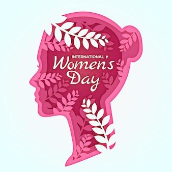 Ilustración de estilo de papel del día internacional de la mujer