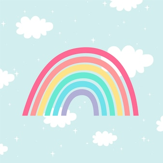 Ilustración de estilo plano del arco iris