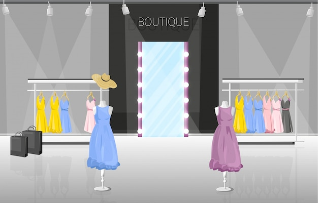 Ilustración de estilo plano de boutique de vestido y zapatería