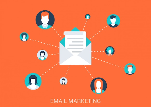 Ilustración de estilo plano de concepto de marketing por correo electrónico. personas avatar potraits conectados a sobres de correo.