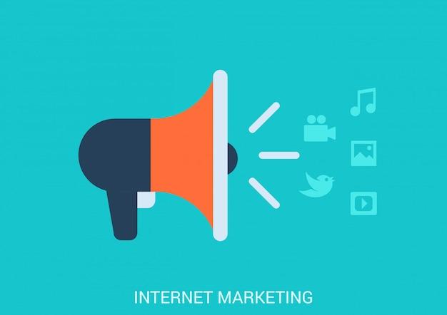 Ilustración de estilo plano de concepto de marketing en línea de internet. icono de altavoz que difunde contenido multimedia de transmisión.
