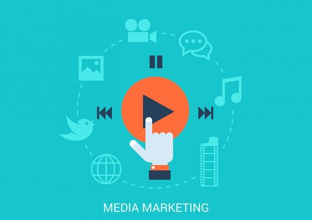 Ilustración de estilo plano de concepto de marketing en redes sociales.