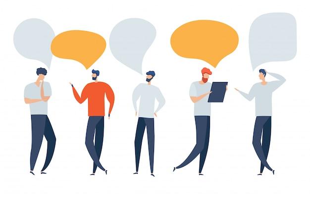 Ilustración, estilo plano, los empresarios discuten redes sociales, noticias, redes sociales, chat, diálogo de burbujas de discurso.