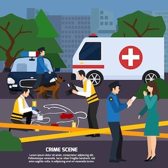 Ilustración de estilo plano de la escena del crimen