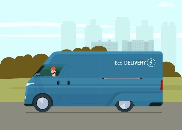Ilustración de estilo plano de furgoneta de carga eléctrica moderna