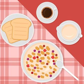 Ilustración de estilo plano con muesli, leche, café y tostadas.