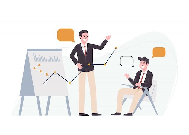 Ilustración de estilo plano del personaje de dibujos animados hombre de pie con gráfico, tabla de presentación de información de gráfico. planificación de análisis empresarial, gestión de proyectos e informe financiero, concepto de trabajo de oficina.