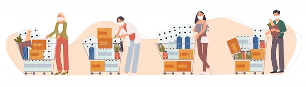 Ilustración de estilo plano del personaje de dibujos animados las personas con máscara facial están comprando de pánico. se almacenan alimentos y suministros. ansiedad por sufrir un brote de enfermedad.