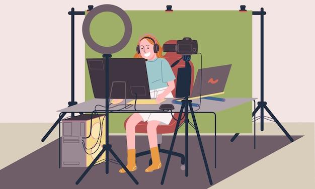 Ilustración de estilo plano del personaje de mujer de dibujos animados en vivo en el estudio casero con equipos de juego profesionales, pantalla verde, cámara réflex digital, luz de anillo, computadora de juego y computadora portátil.