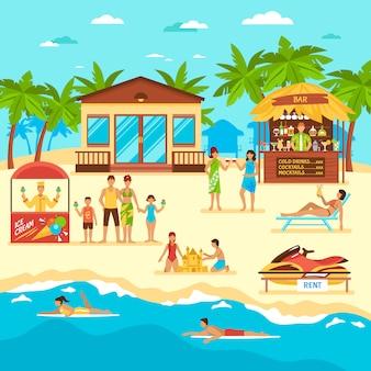 Ilustración de estilo plano de playa