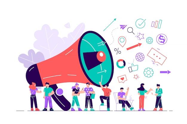 Ilustración, estilo plano, promoción empresarial, publicidad, llamada a través del claxon. ilustración de diseño moderno de estilo plano para página web, tarjetas, póster, redes sociales