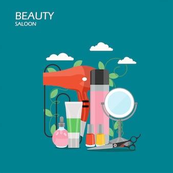 Ilustración de estilo plano de salón de belleza