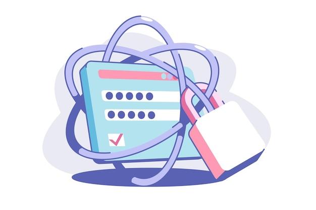 Ilustración de estilo plano de seguridad web sólida