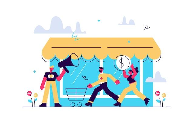 Ilustración estilo plano varias tiendas descuentos compra de bienes y regalos invirtiendo en concepto de compra inmobiliaria