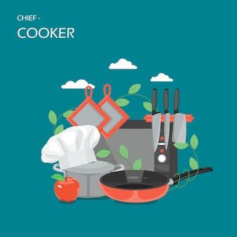 Ilustración de estilo plano de vector de concepto de jefe de cocina