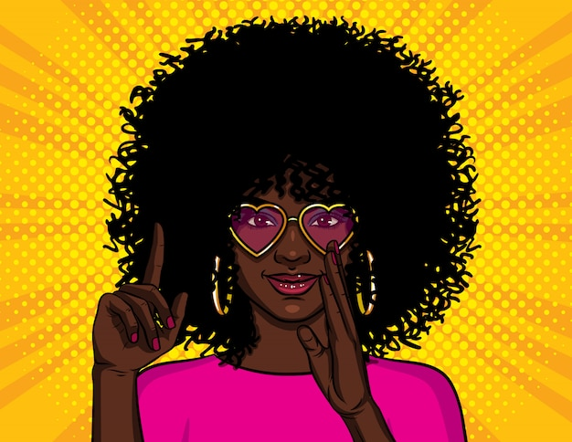 Ilustración en estilo pop art, chica afroamericana muestra el pulgar hacia arriba