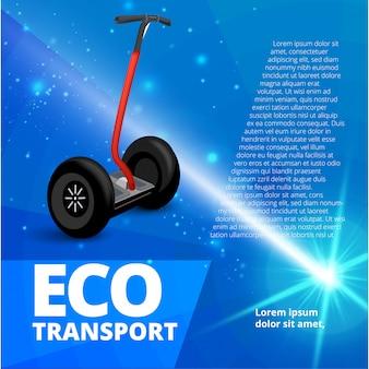 Ilustración de estilo realista para carteles, pancartas, publicidad. transporte ecológico en el fondo abstracto. plantilla de banner publicitario