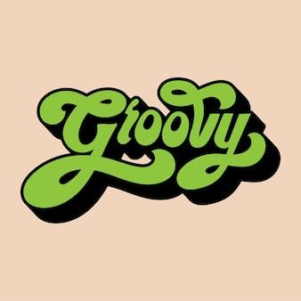Ilustración de estilo de tipografía de palabra groovy